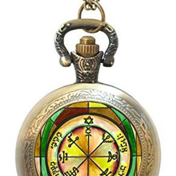Solomons 7th Seal of Jupiter for Power Against Poverty Xl Locket Bronze Gold Necklace Pocket Watch