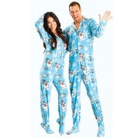 Blue Snowman Adult Footed Onesuit Pajamas