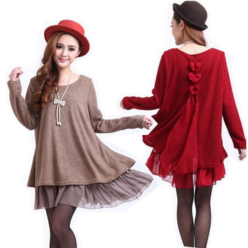 New Fashion Ladies Casual Loose Long Sleeve Top Shirt Womens Knit Wool Mini Dress Blouse = 1946168516