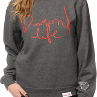 Diamond Supply Co Women's Diamond Life Charcoal Crew Neck Sweatshirt