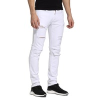 White Mens Jeans Fashion Design Ripped Biker Jeans