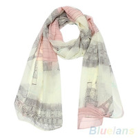 Women's Voile Soft Long Scarf Eiffel Tower Printed Wrap Shawl Stole Scarves = 1957996420
