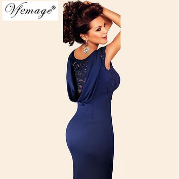 Vfemage Womens Sexy Elegant Crochet Lace See Through Evening Party Special Occasion Mother of Bride Sheath Bodycon Dress 4061