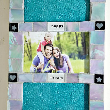 Mosaic triple picture hanging wall frame - gray glass and word tiles - 4x6 picture frame - wall hanging - photo frame - iridescent gray