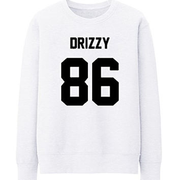 DRIZZY 86 DRAKE OVO HOTLINE BLING HIP HOP RAP GAME OLD SKOOL WOMENS MAG SWEATSHIRT - White