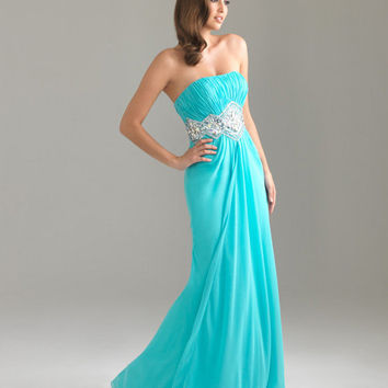 Aqua Gathered Beaded Chiffon Empire Waist Strapless Prom Dress - Unique Vintage - Cocktail, Pinup, Holiday & Prom Dresses.