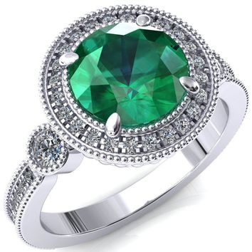 Brachium Round Emerald 4 Claw Prong Diamond Halo 3/4 Micro Channel Engagement Ring