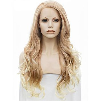Light Gold To Blonde Ombre Wave Synthetic Lace Front Wig
