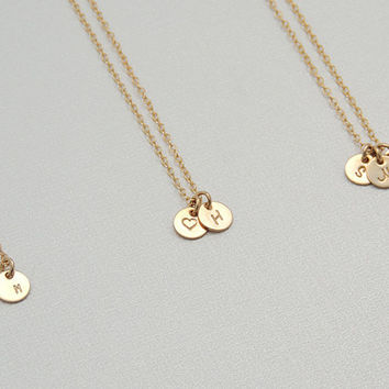Mother39s day infinity necklace from kestjewelry on etsy tiny initial circle necklace small personalized gold disk necklace monogram initial pendant 14k gold aloadofball Images