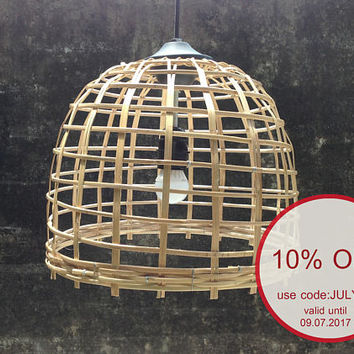 Bamboo basket wicker pendant light,bamboo woven shade hanging lamp size 32cm.