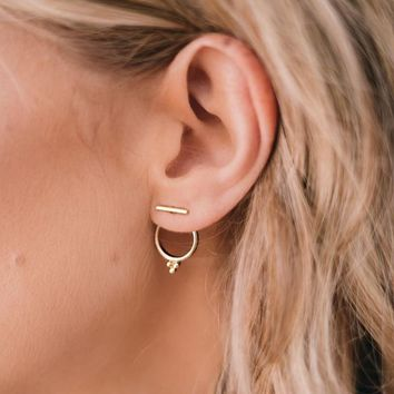Minimalist Round Circle Three Dots Stud Earrings for Women Gold Color Geometric T Bar Earrings Fashion Piercing Friend Jewelry