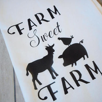 "Farm Sweet Farm Decorative Tea Towels, Farmhouse Kitchen Decor, Farm Animal Dish Towel, Flour Sack Dish Towels, Farm Kitchen Towel, 28""x28"""