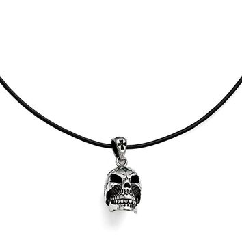 Men's Stainless Steel Polished and Antiqued Moveable Skull Necklace