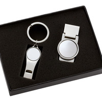 Plain Silver Whistle Key Ring with Matching Money Clip Gift Box