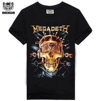 Rocksir summer Megadeth men's t-shirt for men 100% cotton fashion Casual t-shirt O-neck Rock Tshirt T-shirt heavy metal M-XXXL