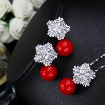 Snowflake Cubic Zircon Jewelry set