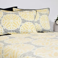 Moroccan Tile Bedding Set in Full Queen King Cal King, Black, Yellow, Silver, Geometric Bedding, 6 pcs, Duvet Cover, Pillowcase, Sham, Sheet