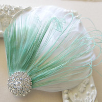 Mint White Bridal Head Piece Peacock Feather Fascinator Vintage Wedding Hair Piece Great Gatsby 1920s Hair Accessory