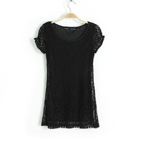 Short Sleeve Lace Blouse