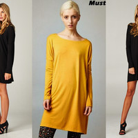 Cherish Boatneck Loose Tunic Dress-Mustard or Black