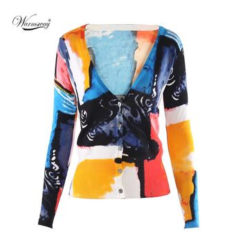 Autumn Women Long Sleeve Cotton Girl Hit Color Painting Knitted Wear Elegant Cardigan Jumper Sumner Sunscreen Sweater