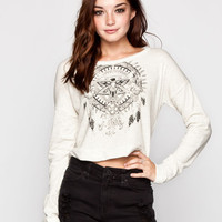 Full Tilt Tribal Bird Womens Sweatshirt Oatmeal  In Sizes