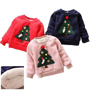 Autumn Winter Children Sweaters Baby Girls Thick Warm Sweaters Kids Casual Velvet Sweatshirts Kids Girls Sweaters