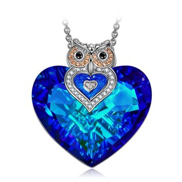 "Necklace Jewelry, ♥Exquisite Package♥ NINA ""Owl of Minerva"" Bermuda Blue Heart Pendant Made With Swarovski Crystals, Charming Valentines Day Gifts for Women"