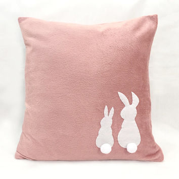 Two Little Lovely Rabbits Dusty Pink Pillow Cover. Children Room Decorative Bunny Cushion Cover. Pom Pom Tails