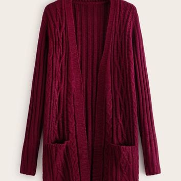 Open Front Pocket Cable Knit Cardigan