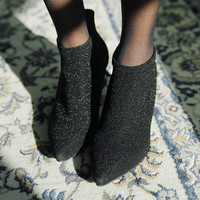 Glittery Pointed Toe Ankle Boots