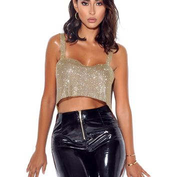 Intimacy Gold Plated Mesh Crystal Tank Top