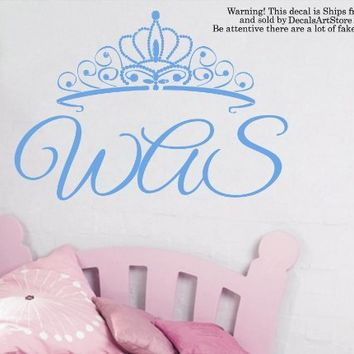 Princess Crown Wall Decals Custom Personalized Name Monogram Sticker Tiara Room Vinyl Decal Baby Kids Nursery Children's Room Decor Art Mural SM190