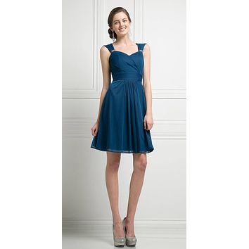 Cinderella Divine 3832 Teal Chiffon Thick Strap Sweetheart Neckline Short Cocktail Dress