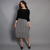 80s Woven SUEDE SKIRT / Smoke Gray Crochet LEATHER Pencil Skirt