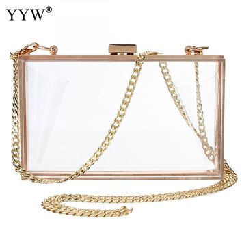 Whole Sale Pvc Clutch Bag Zinc Alloy Solid Box Bag Transparent Clutch Women Shoulder Chain Evening Bag For Party