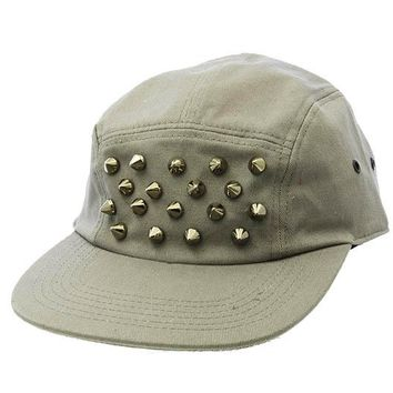 Gray Metal Spike Snapback Hat And Cap