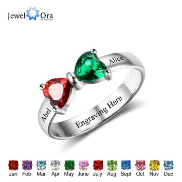 Promise Rings Personalized Jewelry Engrave Name Custom Birthstone 925 Sterling Silver Rings For Girlfriend (JewelOra RI102511)