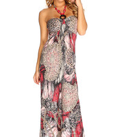 Wine Beaded Halter Strap Causal Summer Maxi Dress