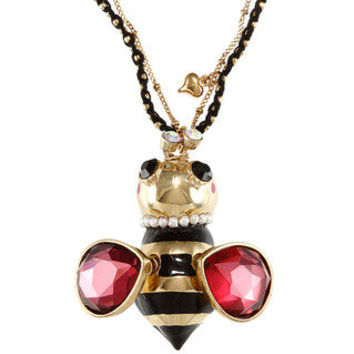 Betsey Johnson Cubic Zirconia Goldtone Yellow Bumblee Bee Pendant Necklace | Overstock.com