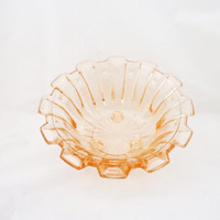 Pink Depression Glass Bowl, Footed Pink Glass Serving Plate, UK Seller