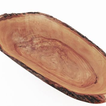 Wooden Boat Shaped Natural Edge Rustic Bowl 9.6 X 4.3 X 3.3 Inch, Olive Wood sal