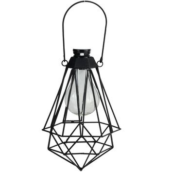"7"" Black Geometric Solar Powered LED Outdoor Patio Metal Lantern"