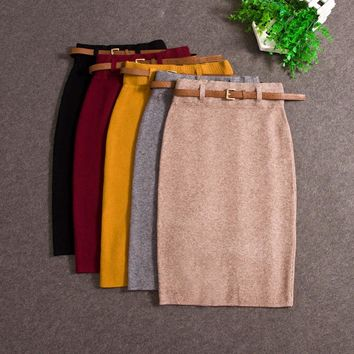 2017 Fashion Skirts Autumn winter Casual Women High Waist Knee-length Knitted Pencil Skirt Elegant slim Long Skirts Black Skirt
