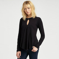 Black Keyhole Cutout Long Sleeve Top