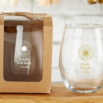 Personalized 9 oz. Stemless Wine Glass - Sunflower