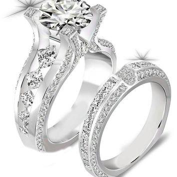 2.3 Ct Round Cut CZ Genuine 925 Sterling Silver Wedding Ring Sets