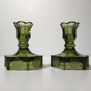 Fostoria Green Coin Candlestick Holders, Fostoria Coin Glass Candlestick Holder, Frosted Coin Candle Holder, 1960s Mid Century Home Decor