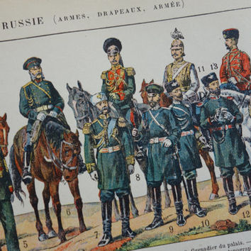 Map of Russia 1905 antique print about Rusland with old Russian army uniforms and flags infantery uniform Russland militaria Russie cavalry