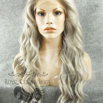 24 inch Synthetic Lace Front with Wave Texture in Gray